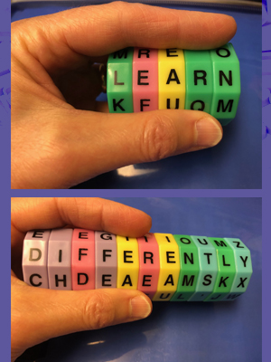 Read Spin, a magnet spelling game with lettered disks you turn to form words. See link below.