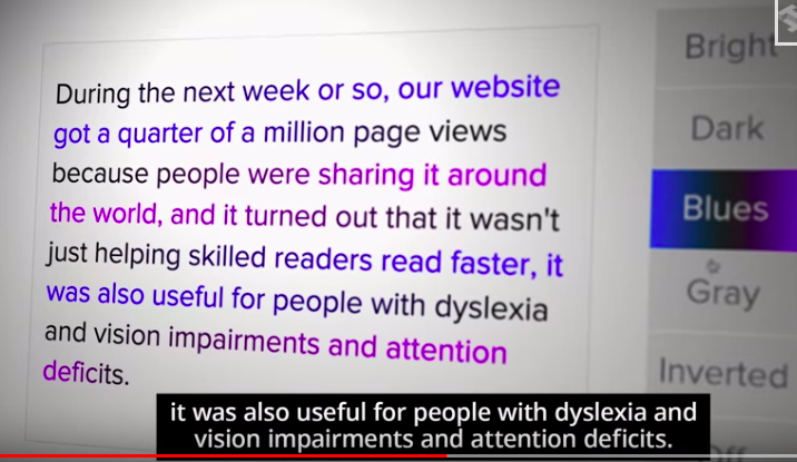 "Nick reported their website garnered a quarter of a million page views in the first week or so. ""People were sharing it around the world... it wasn't just helping skilled readers read faster, it was also useful for people with dyslexia and vision impairments and attention deficits."