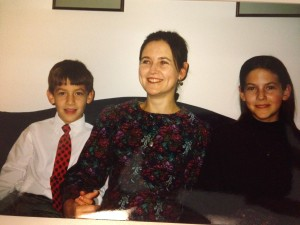 Kathy Kuhl with kids, Christmas of our first year of homeschooling.
